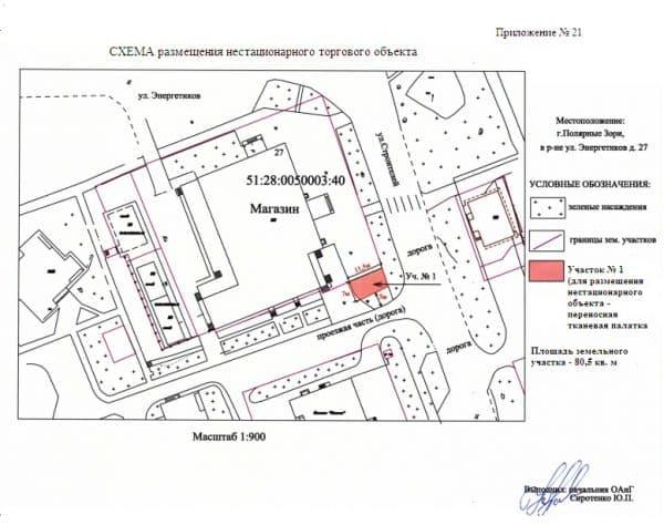 Схема расположения нестационарного торгового объекта